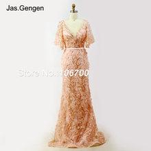 2018 New Evening Dress Emboirdery 3D Lace Flower V neck robe de soiree long  Poet Half Sleeve with belt Prom Gown 949 aa968e8130a2