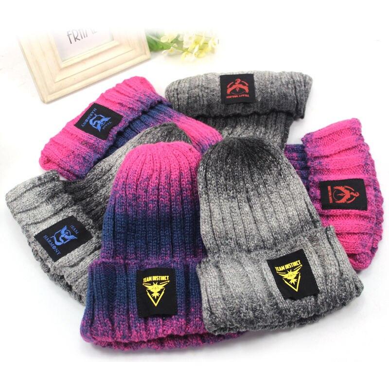Men Women Unisex Pokemon Go Beanie Winter Hat Ski Gradient Color Knitted CapÎäåæäà è àêñåññóàðû<br><br><br>Aliexpress