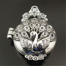 Antique Style Silver Tone Locket Prayer Box Pendants Charms Findings 3pcs 31377 37*30*14mm(China)