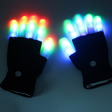 Five Fingers LED Gloves Lighting Flashing Glow Mittens Rave Light Festive Event Party Supplies Luminous Cool Gloves T1236(China)