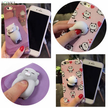 Lovely 3D Soft lazy cat panda doll phone Case For iphone 6 6s Plus 7 7Plus cartoon Soft TPU phone back cover