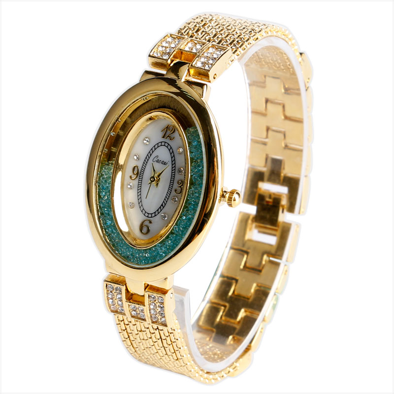 ExquisiteOval Golden Bling Rhinestone Mint Green Crystal Dial Women Ladies Dress Wrist Watch Elegant Alloy Band Bracelet Gift<br><br>Aliexpress