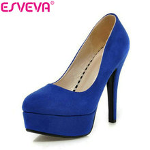 Buy ESVEVA 2017 Women Pumps Thin Heels Platform Pointed Toe Slip Party Shoes Super High Heels Ladies Elegant Shoes Size 34-43 for $28.74 in AliExpress store