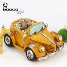 Roogo creative retro small car plant pots fun cartoon DIY desktop convertible resin flower pots personalized best gift ideas