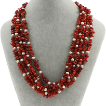 Natural Coral Necklace,designers Freshwater Pearl, brass lobster clasp, 5-strand, 3x8mm-5x12x6mm, Sold Per Approx 17 Inch Strand