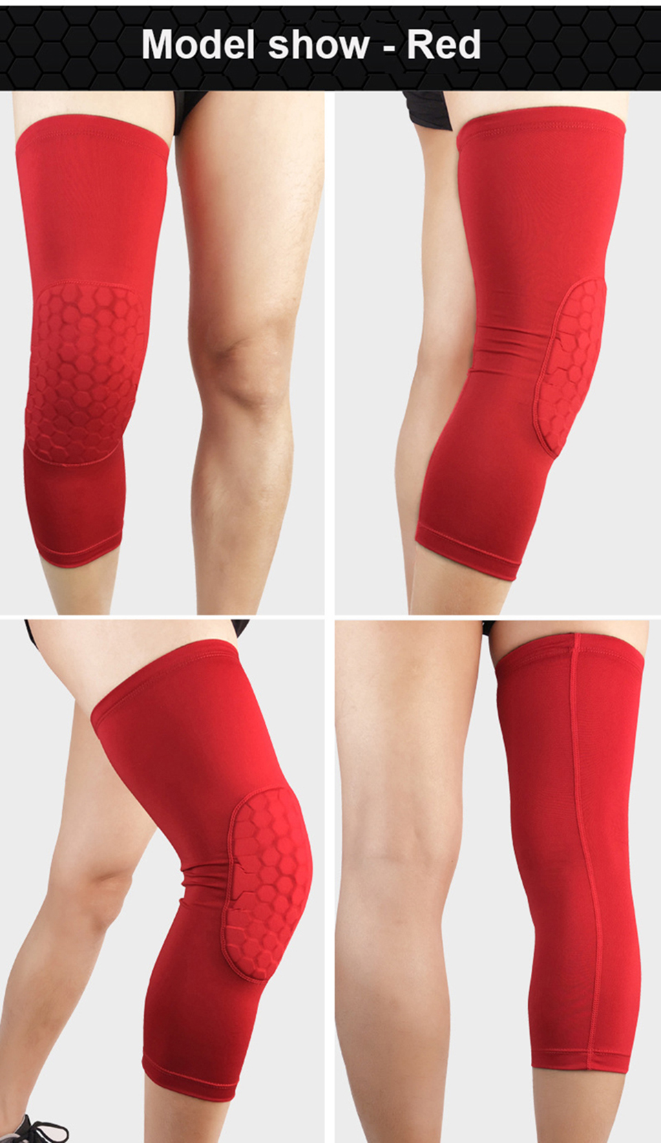 Breathable Honeycomb Knee Calf Compression Support Protection Brace Leg Sleeve Pad Sadoun Sales International
