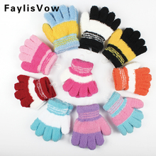 Baby Winter Thicken Warm Gloves Children Coral Fleece Knitted Mittens Kids Boys Girls Soft Colorful Striped Full Finger Gloves(China)
