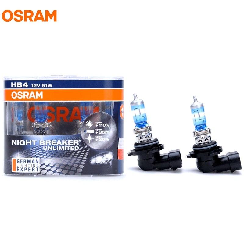 OSRAM 9006 HB4 3600K NIGHT BREAKER Xenon White 12V 51W Car Halogen Bulbs 9006NBU 20% Whiter 40m Longer Beam 110% More Light Pair<br><br>Aliexpress