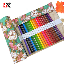 Clock Canvas School Pencil Bag 36/48Holes Large Capacity Roll Up Pencil Case Box Roll Pouch Brush Pen Storage Large Box(China)