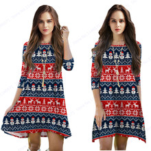 Blue Christmas Snowman Women Dress Red Christmas Reindeer Midi Dress Loose One Piece Dress Vintage Stripes Beach Tennis Dresses
