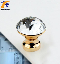 "In Stock Crystal Drawer Knobs 25mm-40mm Golden Brass Base 6 pc Cabinet Pull Handle Glass Diamond Clear Color 1.25""(China)"
