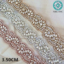 (10 yards)Wholesale bridal beaded sewing rose gold crystal rhinestone  applique trim iron on for wedding dress sash belt WDD0319 6ca1438f94bb