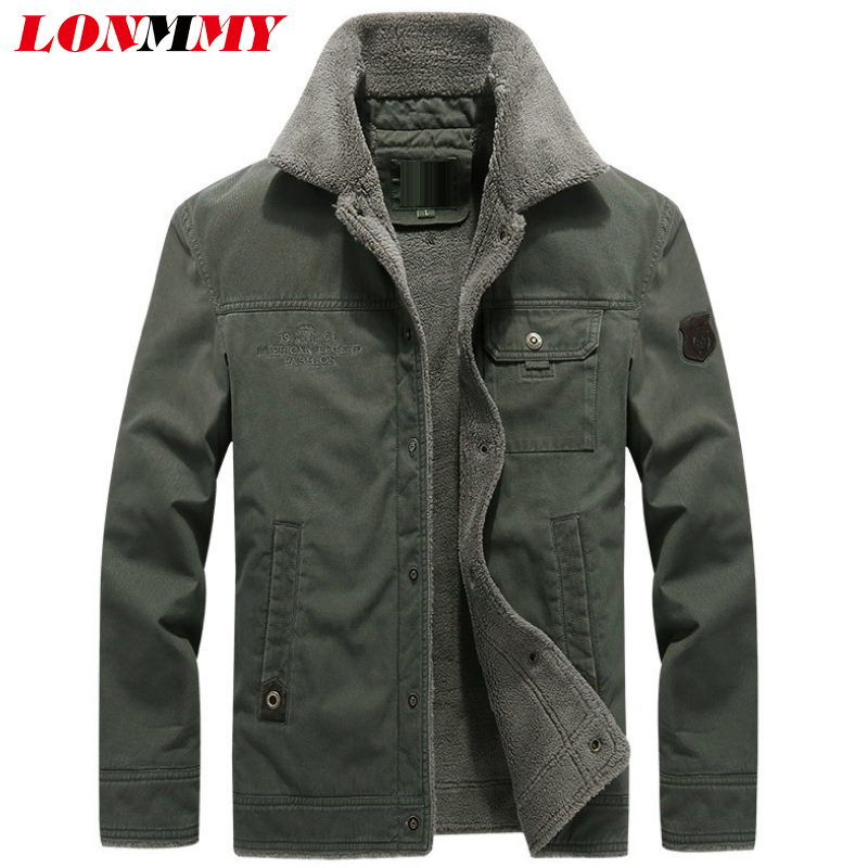 LONMMY 5XL 6XL Winter jacket men Plush liner velvet thick warm Lapel collar Outerwear windbreaker men jacket coat army green