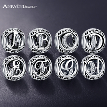 ANFASNI Authentic 925 Sterling Silver Vintage Clear Letter Bead Charms Fit Original Pandora Women Charm Bracelets Silver Jewelry