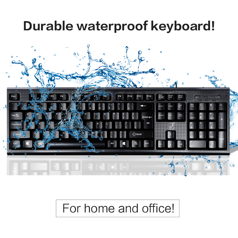 Waterproof Keyboard 107 Keys Wired USB keyboard for Office Gamer Game Usb Multimedia Waterproof Computer PC Desktop Keyboard(China (Mainland))