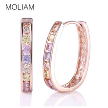 MOLIAM Crystal Rhinestone Earing for Women 2017 Hot New Fashion Cubic Zirconia Hoop Earrings Jewellery High Quality MLE307
