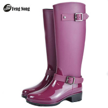 Fengnong Spring winter boots brand design mid-calf boots student zip rain boots preppy shoes woman buckle rubber rainboots w014
