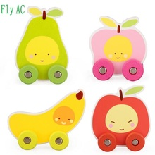 [Fly AC] Baby Wooden Mini cartoon apple banana pear peachs Toy Trucks puzzle wooden Toys for Children Birthday gifts