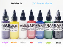 Free Shipping 5 Bottles Dynamic Tattoo Ink 30ml/ 1oz / 30g Color Tattoo Pigment 7 Colors For Choose