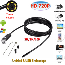 Buy USB Endoscope Camera 7mm 2 1 6LEDS Mini Endoscope Borescope Inspection Camera Lenovo Huawei Android phone PC for $12.32 in AliExpress store