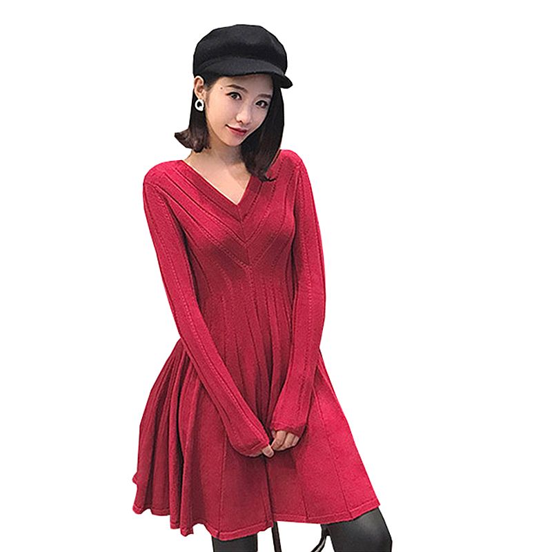 KENVY High-end luxury brand womens fashion V-neck  red long-sleeved knitted dressÎäåæäà è àêñåññóàðû<br><br>