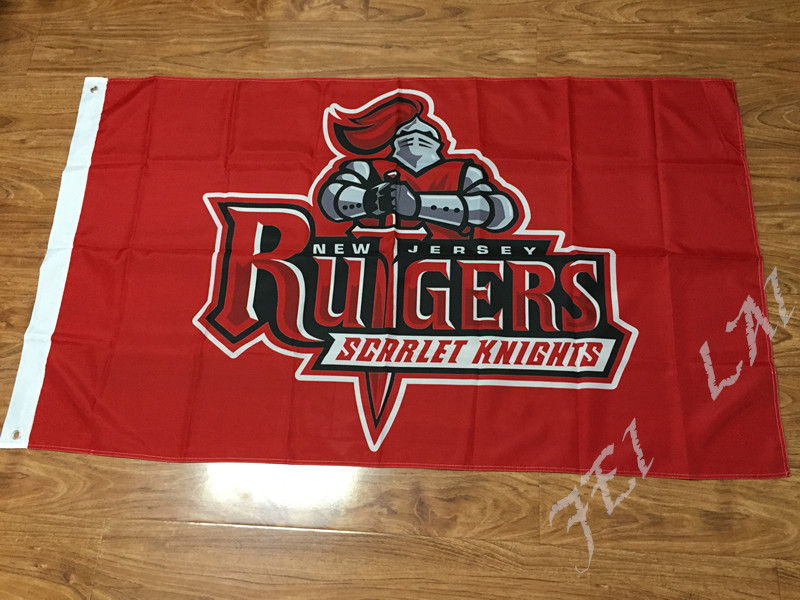 free shipping Rutgers Scarlet Knights flag 3ftx5ft Banner 100D Polyester Flag 2 metal Grommets custom flag(China (Mainland))