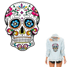 Colife Patches 26*19cm West Coast Skull Patches For Clothes Heat Transfer Iron On DIY T-Shirt Dresses Decoration Printing
