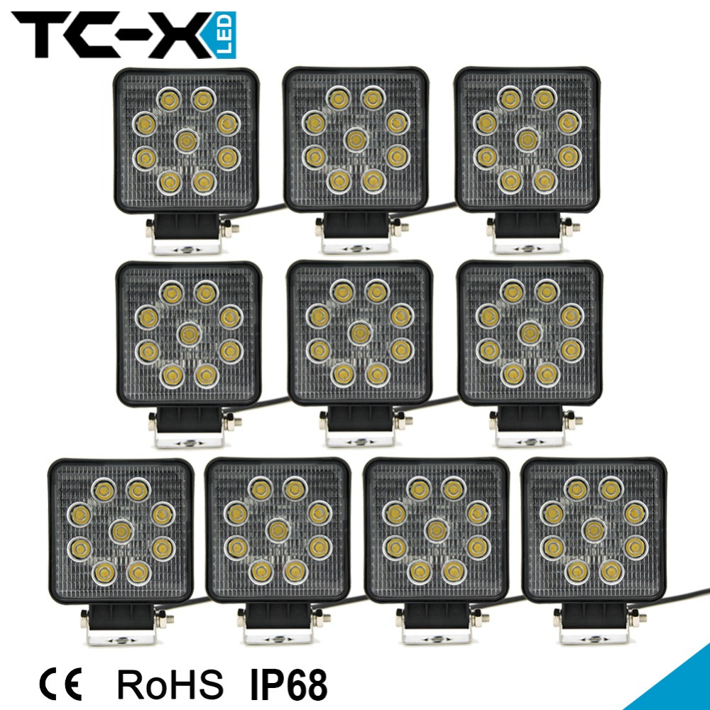 10pcs/Lot Wholesale 27W LED Work Light  US Local Free Ship 4INCH 12V OFF ROAD Tractor Truck 24V MOTORCYCLE ATV Fog DRIVING LIGHT<br><br>Aliexpress