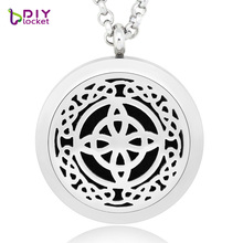 2017 Mix Design perfume hollow necklace 30MM DIY silver 316L stainless steel magnetic round aromatherapy hollow cage Jewelry