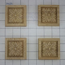 "2-3/4""(70mm) square onlay furniture decorative piece 4x carved wood unvarnished flower design(China)"