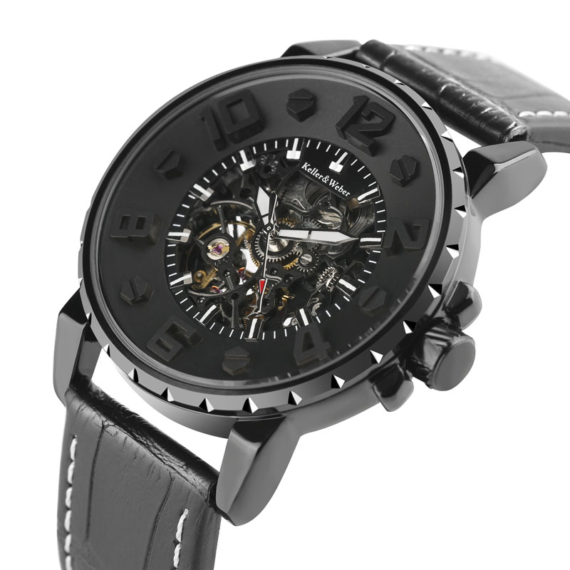 KW Luxury Automatic Mechanical Watches Men Brand Design 3D Rome Number Dial Real Leather Strap hollow- out skeleton Wristwatch <br>