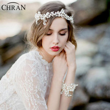Chran New Fashion 100% Handmade Crystal Tiara Crown Bridal Wedding Headband Headpiece Pearl Evening Hair Comb Jewelry HCJ603(China)