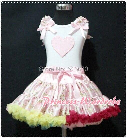Valentine White Pettitop Top Light Pink Heart Print Pale Pink Floral Print Pettiskirt 1-8Y MAPSA0247<br>