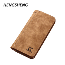 HENGSHENG Slim Wallet Long Leather Men Wallets Male Vintage Coin Purses Men's Purse Card Holder Leather Wallet Men Bags Fashion(China)