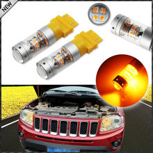 iJDM Amber Yellow 28-piece 3030 SMD 3157 T25 3156 LED Bulbs For 2011-up  Jeep Grand Cherokee For Daytime Running Lights