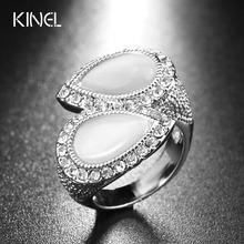Hot 2017 Fashion Opal Ring Silver Color Double Water Drop Shape White Crystal Wedding Jewelry