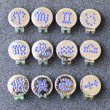 Wholesale 2017 New Blue Crystal Zodiac Golf Ball Marker w Magnetic Golf Hat Clip