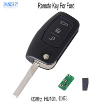 Dandkey 3 Buttons Replacement Flip Folding Remote Control Key For Ford Focus Fiesta 2013 Fob Case With HU101 Blade 4D63 + Chip(China)