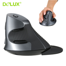Delux M618 2.4G Wireless Ergonomic Vertical Optical Mouse Computer Mice 5D Buttons Adjustable 1600 DPI with Removable Palm Rest