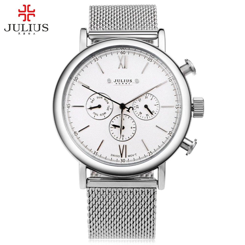 Top Brand JULIUS Watch Men relogio masculino Ultra Thin Full Steel Mesh Band Quartz Watch Three Working Sub-dials Wristwatches<br>