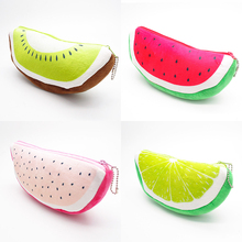 12 pcs/lot Cute Fruit Pencil case Creative Plush watermelon pencil bag for kids gift Stationery pouch school supplies(China)
