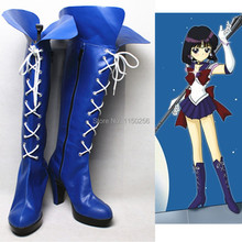 Free Shipping Anime Sailor Moon Crystal Cosplay Costume Shoes Sailor Saturn Halloween Cosplay Boots Pu Leather Custom New