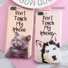 TPU Phone case for iphone 5s 5 SE 6 6s 6plus 7 7plus 3D Relief Case Funny Dog Cat Husky Pattern Anti-Knock Airbag Silicone case