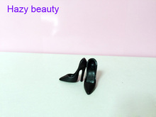 Hazy beauty High heels doll shoes black shoes for Barbie Doll Fashion Cute Newest BBI00828(China)