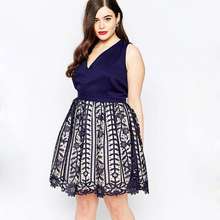 Plus Size Party Dress Women Sleeveless V Neck Elegent Lace Crochet Overlay Venetian Patchork A-line Shift Formal Dresses XXL XL