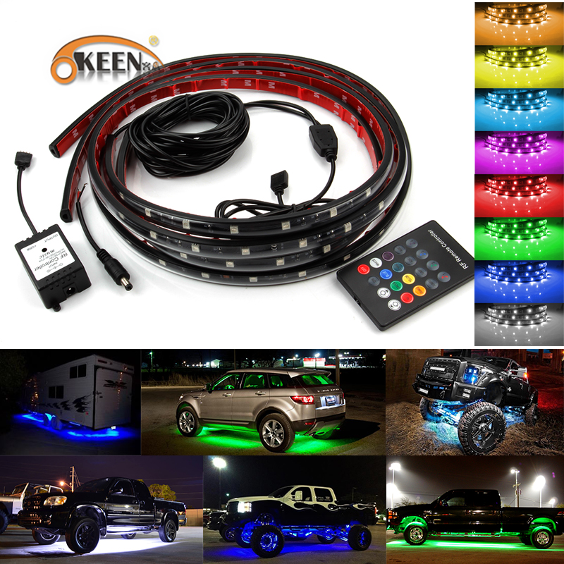 OKEEN 2X120cm RGB LED Strip Under Car Tube Underbody Underglow Glow System Neon Light Remote Car-styling<br>
