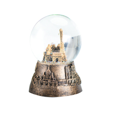WR Art Crafts Birthday Gifts Idea Brass France Music Box Decorative Wedding Snow Ball Home Office Desk Ornaments 6x6x9cm