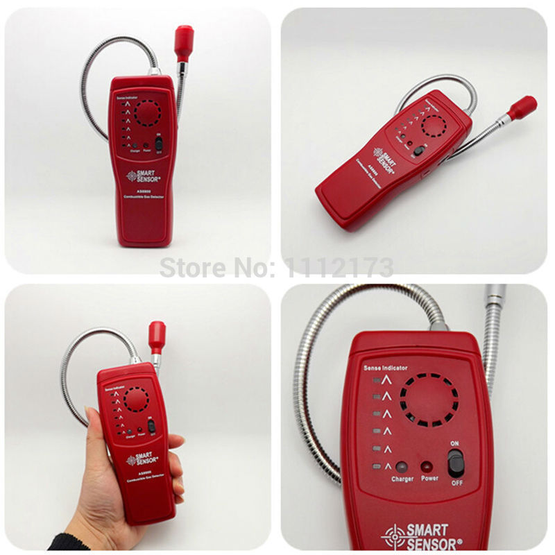 Digital combustible gas analyzer hand-held port flammable gas Leak Detector with Sound Light Alarm+Battery<br>