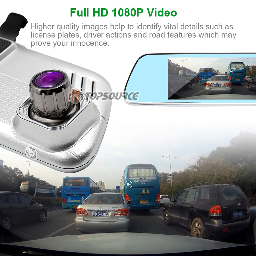 TOPSOURCE 7 inch 3G Car DVR Mirror Gps Dual Camera LENS GPS CAR CAMER Android Quad-core Full HD 1080P GPS Navigation 16GB/1GB 8