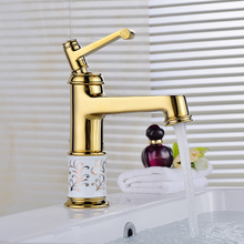 High Quality gold Single Handle Bathroom kitchen Sink Mixer Faucet/ crane/ tap blue and white porcelain Brass Hot and Cold Water